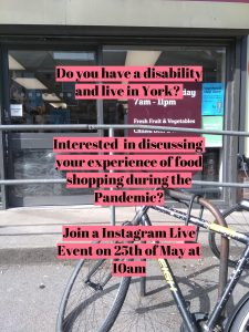 Invitation to join Instagram live on food shopping in a pandemic