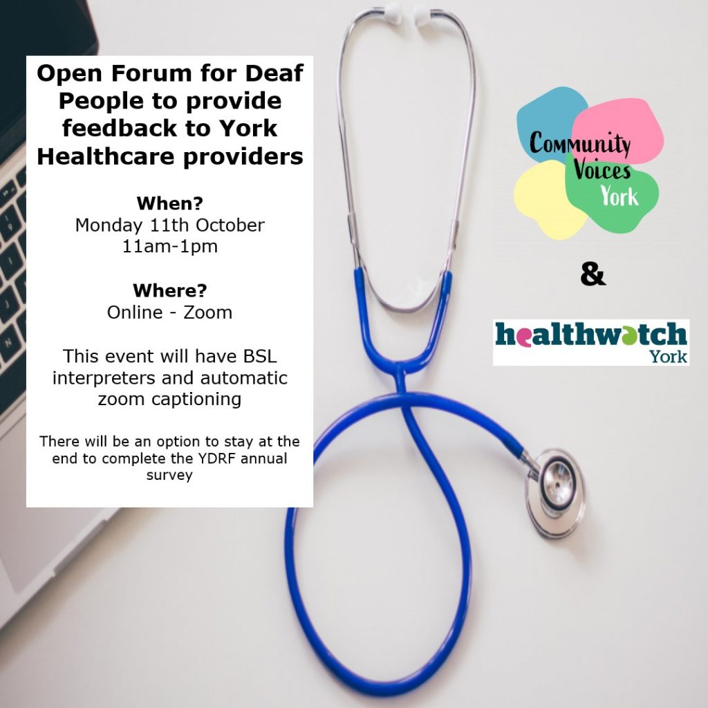 Deaf Healthcare Forum invite with picture of silver and blue stethescope